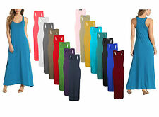 LADIES WOMENS JERSEY MUSCLE RACER BACK MAXI LONG VEST SUMMER DRESS SIZES 8 -26