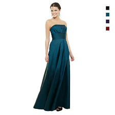A-Line Strapless Pleated Taffeta Formal Evening Gown Bridesmaid Dress ed5347