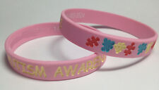 PINK Autism Awareness Puzzle Pieces Wristband ADULT Silicone walk CHOOSE SIZE