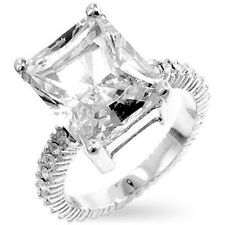 Silver Cocktail Ring Princess Cut Cubic Zirconia Engagement Size 9 10 USA Seller