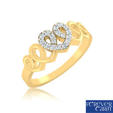 0.11 Ct Real Diamond Studded Ring 100% Certified 14K Hallmarked Gold Ring Gift