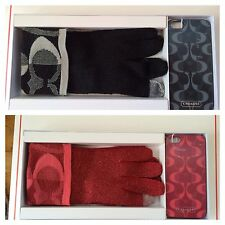 Coach iPhone5 Case With Tech Touch Glove 2Pc. Gift Set $88;Pink Scarlet/Black