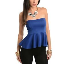 Sexy New Blue Strapless Peplum Tube Top Night Day or Party Blouse Clothing