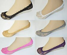 6 PAIRS of Lace Antiskid Invisible Liner No Show Peds Low Cut Socks for Women