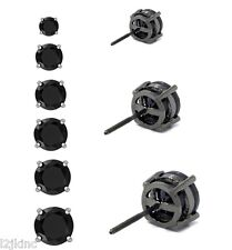 Mens & Ladies Black Plated Round Lab Diamond Studs Screw Back Earrings 3-8mm