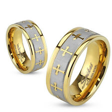 Stainless Steel 316L Celtic Cross Brushed Center Two Tone Gold IP Ring Band 5-13
