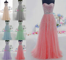 Women's Long Tulle Prom Quinceanera Ball Gowns Sweet Sixteen Formal Party Dress