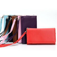 A Universal Bicast Leather Wrist-Let Clutch Case fits HTC Mobile Phone