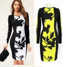 Hot Women's O-Neck Long Sleeve Beyonce Day Dress Stretch Bodycon Dress Plus size