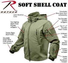 OD Green Special-Ops Tactical Soft Shell Jacket w/Waterproof Shell Coat 9745