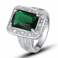 Flawless Emerald Quartz White Topaz Gemstone Silver Jewelry Ring Size 7 8 9 10