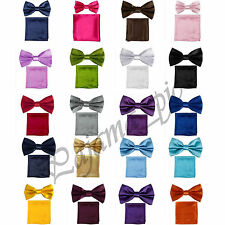 NEW Satin Pre-tied Bow tie and Pocket Square Hankie Set Wedding Party Prom