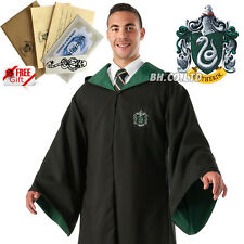 Harry Potter Slytherin Adult Costume Robe Cloak Dress Size S XL (free TATTOO)