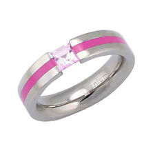 5mm Groove Titanium Band Princess Sapphire Synthetic Gemstone