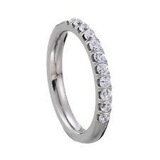 Titanium Round Cubic Zirconia Half Eternity Stackable Band Clear Simply-Mix