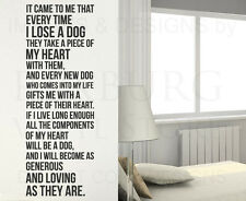 Every Time I Lose a Dog Pet Lover Wall Decal Vinyl Sticker Art Decor Quote A37