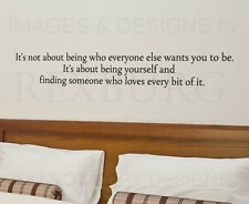 Its About Being Yourself Wall Decal Vinyl Sticker Art Quote Decor Decoration A39