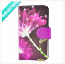 hot Bling Diamond Purple Flower flip PU leather case cover for htc