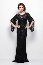 Plus Size Layered Sequin Long Sleeve Formal Evening Dress IN STOCK 6 -20