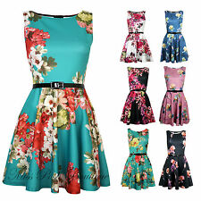 Womens Sleeveless Floral Print Belted Short Skater Flare Summer Party Dress