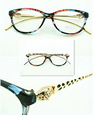 Women Eyeglass Frame Gold Leopard Designer Fashion Glasses Eyewear Clear Lens RX