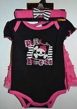 Spencer's Baby 3 Piece Punk Princess Jumper, Skirt & Headband 0-6, 6-12 12-18