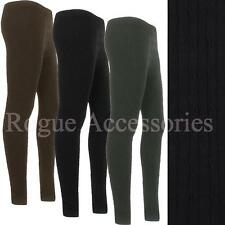 Ribbed Cable Knit Pattern Thick Chunky Stretch Soft Leggings Tights Womens Size