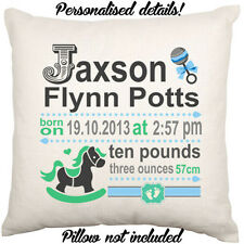 Personalised Name Birth Date Baby Shower Gift Boy Girl Nursery Cushion Cover