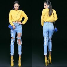Fashion High Waist Destroyed Ripped Pants Distressed Denim Crop Wornout Jeans