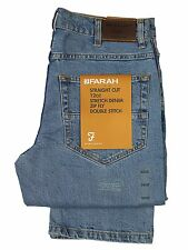 MENS NEW FARAH JEANS LIGHT-WASH STRETCH-DENIM STRAIGHT CUT 30 TO 46 BIG WAISTS