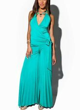 Trendy Fashion Pleated Wide Leg Teal Blue Party Cocktail Jumpsuits Rompers Shops