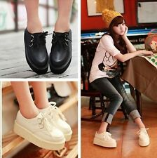 Women Ladies Lace Up Platform HIGH Flats Goth Punk Creepers Shoes Black/White ay