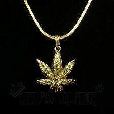 14k Gold Green Stone WEED MINI Marijuana Pendant Necklace Snake Chain Iced Out