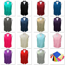 Mens Bowtie Bow Hankerchief Satin Vest Wedding Groom Formal Waistcoat Set of 3