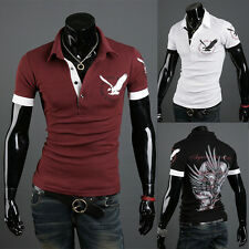 New Men Eagle Tattoo Graphic Printing Short Sleeve Polo T-Shirt Slim Fit Casual
