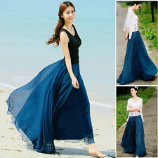 Vintage Plus Size Summer Girl Elastic Waist Band Dress Chiffon Long Maxi Skirt