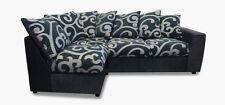 Samantha Fabric Sofa Corner Group - Black/Swirl - Cheapest On Ebay