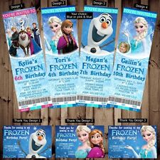 Printed Personalized Disney Frozen Birthday Ticket Invitations/Thank You