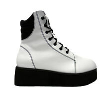 NEW Y-R-U *RAZE* WHITE HIGHTOP LACE UP PLATFORM ANKLE BOOTS/TRAINERS -3,4.5,8,9-
