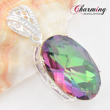 50% OFF Best Sale Oval Rainbow Fire Mystical Topaz Gems Silver Necklace Pendant