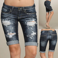 Machine Jeans Destroyed Distressed Denims Rhinestone Bermuda Jeans DMB-1A3887JS