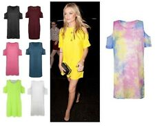 Tie Dye Mini Dress Cut Out Shoulder Oversized Top T Shirt Baggy Tunic New