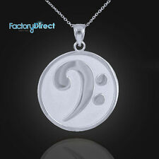 Solid White Gold Textured Bass F-Clef Charm Pendant Necklace Symbol