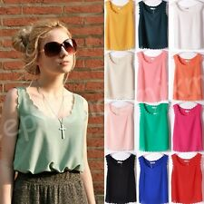 Sexy Women Candy Color Wave Pattern Loose Chiffon Tops Blouses Vest 17 Colors