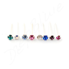 Nose Stud/Straight STERLING SILVER 0.8mm Bar CLAW SET Stone  CHOOSE COLOUR/SIZE