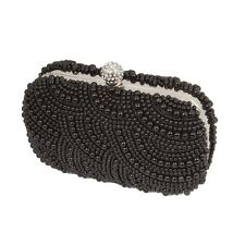 BMC Faux Pearl Encrusted Metal Frame Hard Case Small Evening Clutch Collection