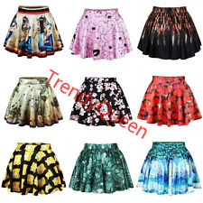 Rockability Digital Print Sexy Girl's A-Line Short Skirt Flared Pleated Dresses