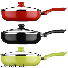 Ecocook Non Stick Pan Frypan Frying Pan with White Ceramic Coating & Glass Lids