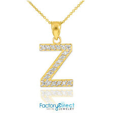 "10k / 14k Yellow Gold Letter ""Z"" Diamond Initial Pendant Necklace"