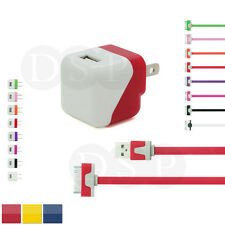 Folding AC Home Wall Charger + 3/6/10ft 1/2/3m Flat Noodle USB Cord for iPhone 4